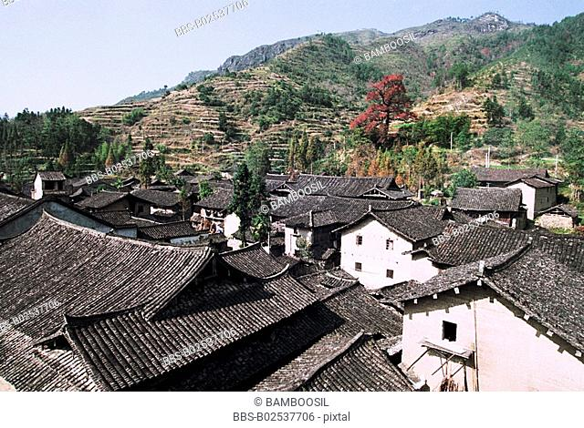 Rooftop of old houses, Taishun County, Zhejiang Province, People's Republic of China