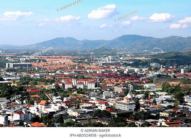 Thailand Phuket Phuket Town View over Phuket from view point at Khao Rang (Rang Hill)
