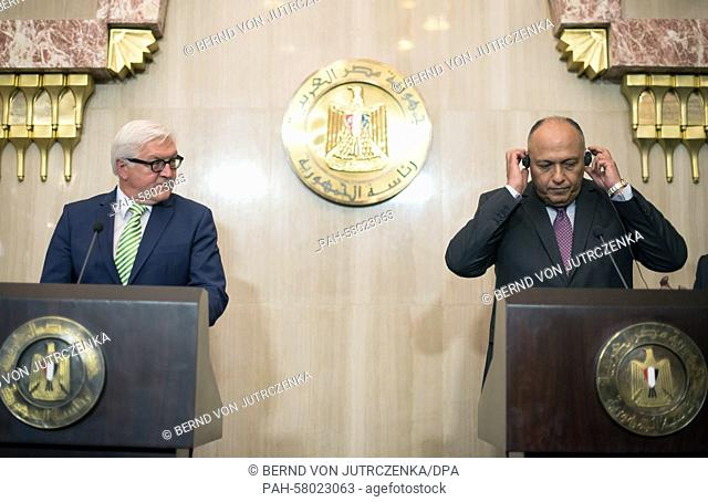 German Minister for ForeignAffairs FrankWalter Steinmeier (L, SPD) and his Egyptian counterpart Sameh Shoukry speak during a news conference in Cairo, Egypt