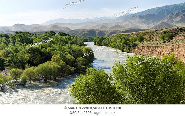 Valley of river Suusamyr in the Tien Shan Mountains west of Ming-Kush. Asia, central Asia, Kyrgyzstan
