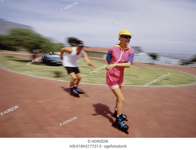 Sport & Recreation, Roller-blading, Couple, City