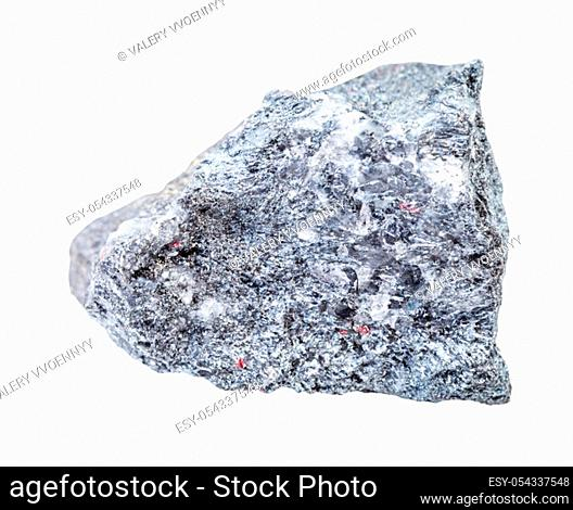closeup of sample of natural mineral from geological collection - rough Stibnite (Antimonite) ore isolated on white background