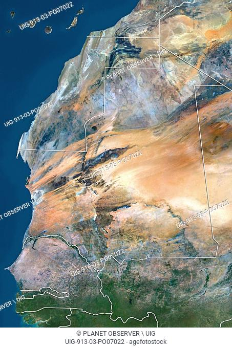 Satellite view of Mauritania, Senegal and Gambia (with country boundaries). This image was compiled from data acquired by Landsat 8 satellite in 2014