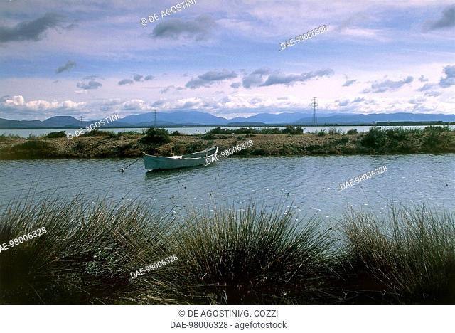 Santa Caterina Pond near Sant'Antioco, Sant'Antioco island, Sardinia, Italy