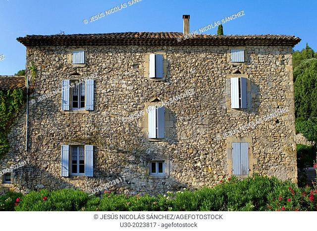 Typical house in Roque-sur-Ceze, labelled The Most Beautiful Villages of France. Gard deparment, Languedoc-Roussillon region. France