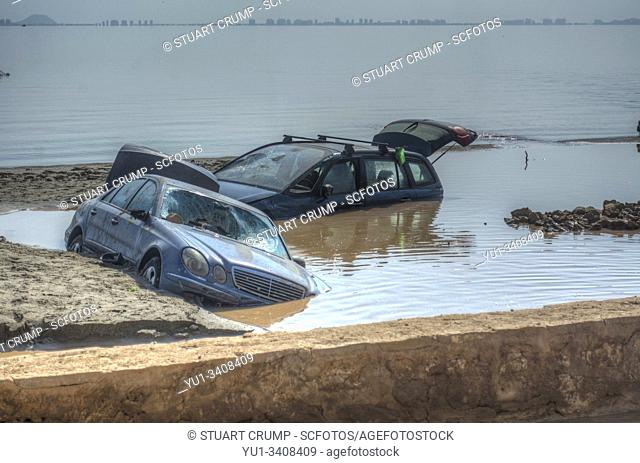 """Flood damage following a """"""""gota fria"""""""" in the Spanish town of Los Alcazares in Murcia Spain"""