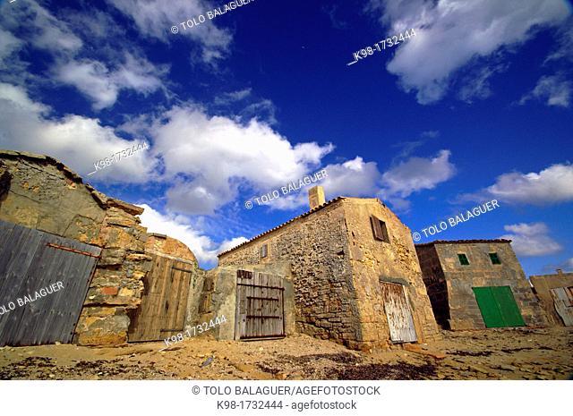 enbarcadero, 'escars' of the beach is Dolç, Ses Salines, Majorca, Balearic Islands, Spain