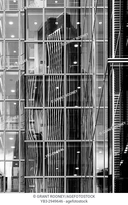 The Iconic Tower 42 Reflected On The Front Of A City Of London Building, London, UK