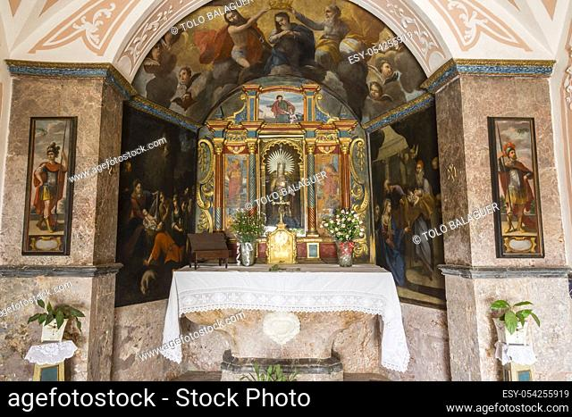 Baroque altarpiece, 1622, designed by Francesc Ferrer, Oratory, , Alaro Castle, 14th century, Mallorca, Balearic Islands, Spain