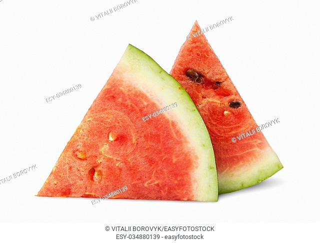 Two pieces of ripe watermelon each other isolated on white background