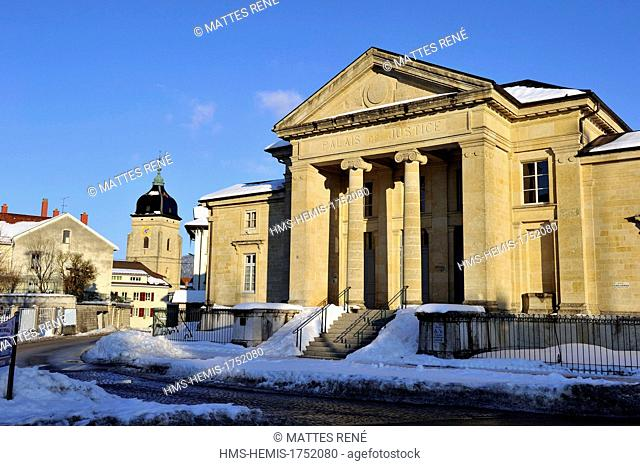 France, Doubs, Pontarlier, law court and Sainte Begnine's church