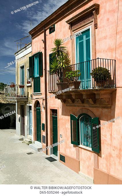 Pink House by Santa Maria delle Scale Church, Ragusa. Sicily, Italy