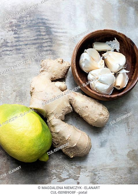 Ginger roots, lemon and garlic