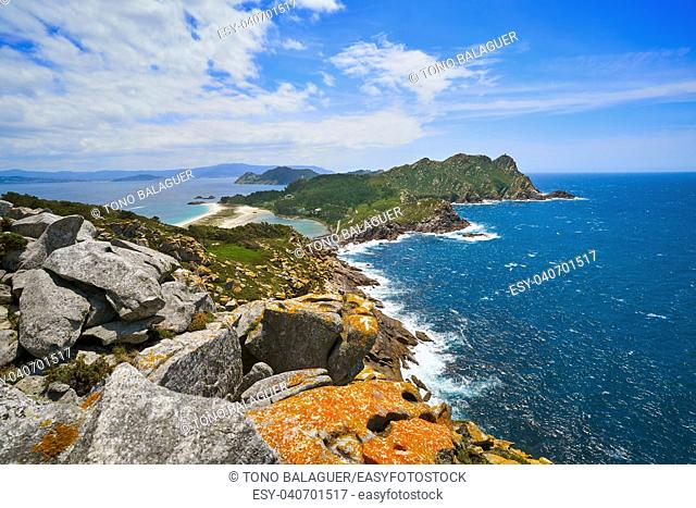 Alto do Principe high view point in Islas Cies islands of Vigo at Spain