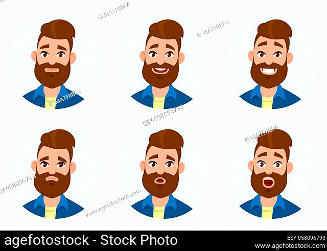 Set of male facial emotions. Different male emotions set. Man emoji character with different expressions