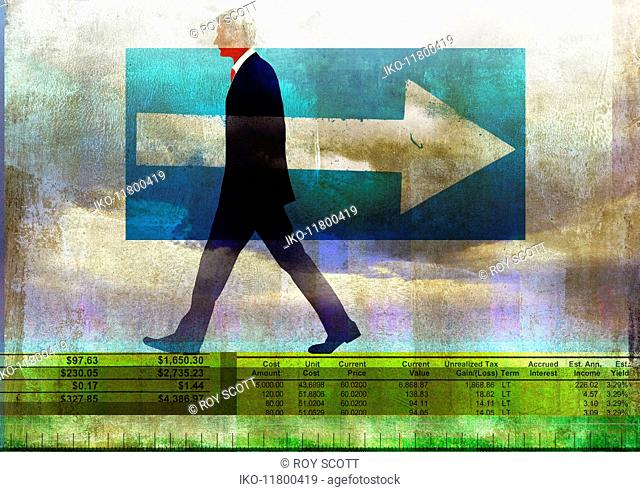 Businessman walking in opposite direction to arrow