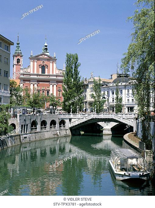 City centre, Holiday, Landmark, Ljubljana, Ljubljanica, River, Slovenia, Europe, Tourism, Travel, Vacation