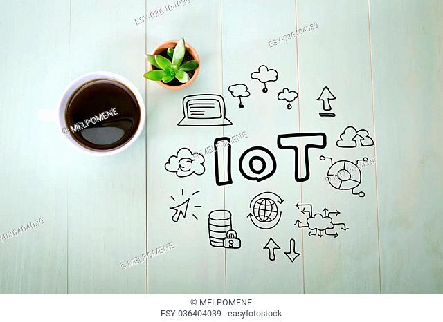 IoT - Internet of Tings concept with a cup of coffee on a pastel green wooden table