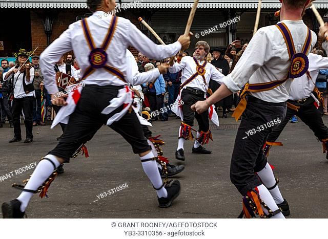 Morris Dancers From The Local Area Perform At The Annual â. . Dancing in the Oldâ. . in Harveys Brewery Yard To Celebrate The Return Of The â