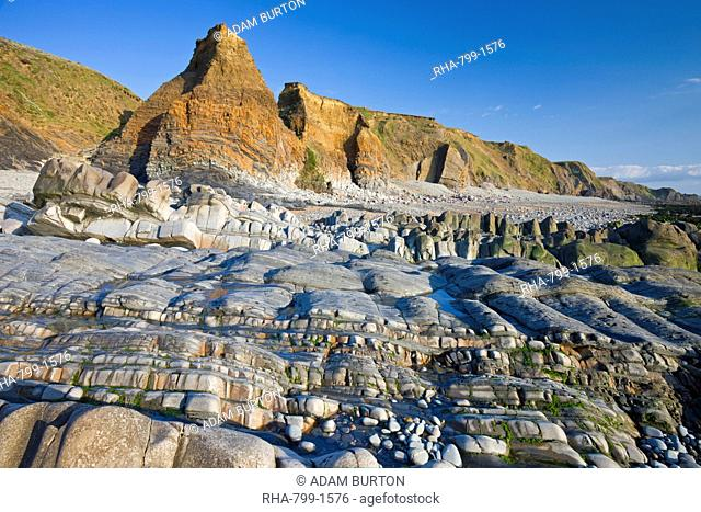 Eroded layers and cliffs at Sandymouth, Cornwall, England, United Kingdom, Europe