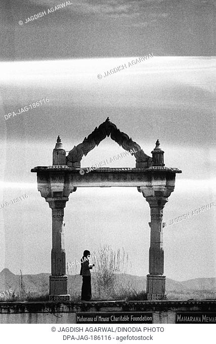 City Palace arch Udaipur Rajasthan India Asia 1976