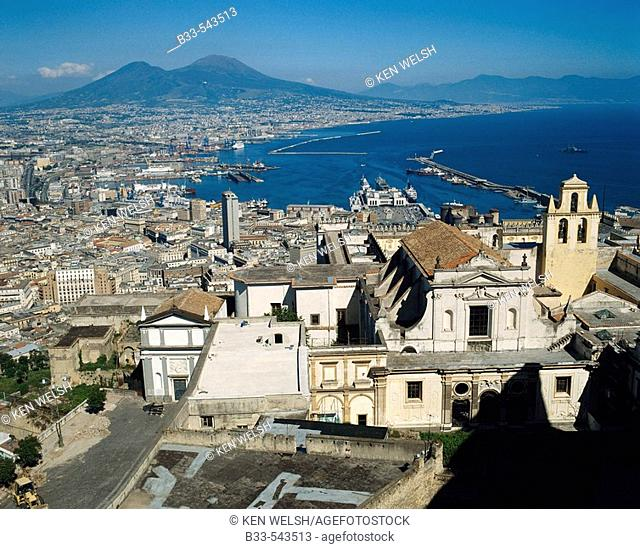 Naples and Vesuvius in background. Italy