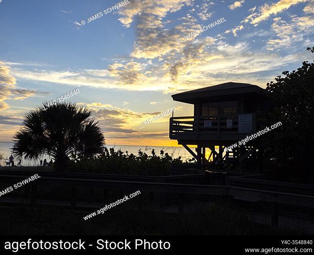 Sunset on Manasota Key Beach on Manasota key in Englewood Florida United States