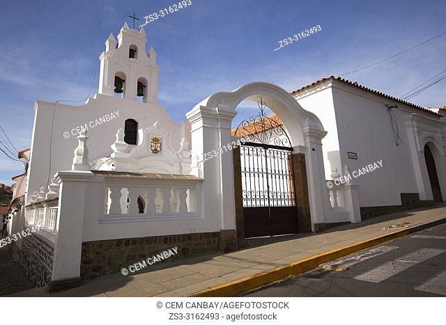 View to the Convent Of Santa Teresa Carmelitas-Convento Santa Teresa Carmelitas at the historic center, Sucre, Chuquisaca Department, Bolivia, South America