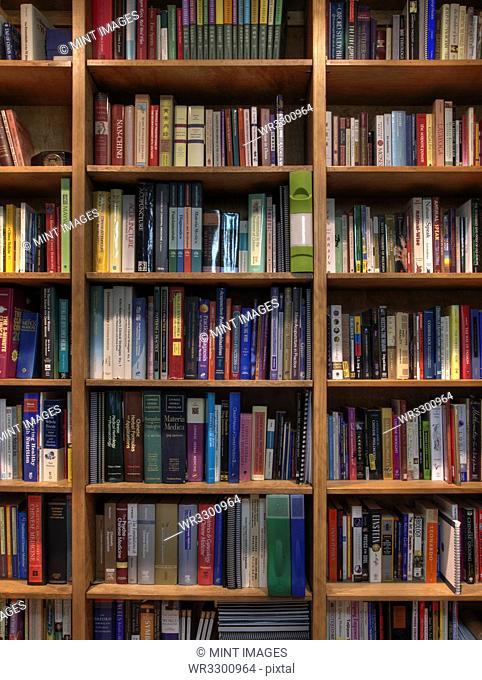 Books organized in bookshelves