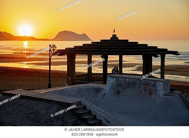 Sunset from the Restaurant Karlos Arguiñano, Zarautz, Getaria in the background, Gipuzkoa, Basque country, Europe