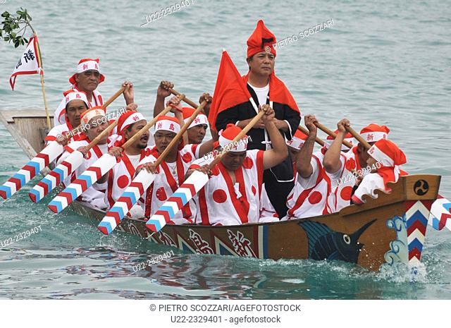 Itoman, Okinawa, Japan, rowers at the Haarii, the Dragon Boat Festival