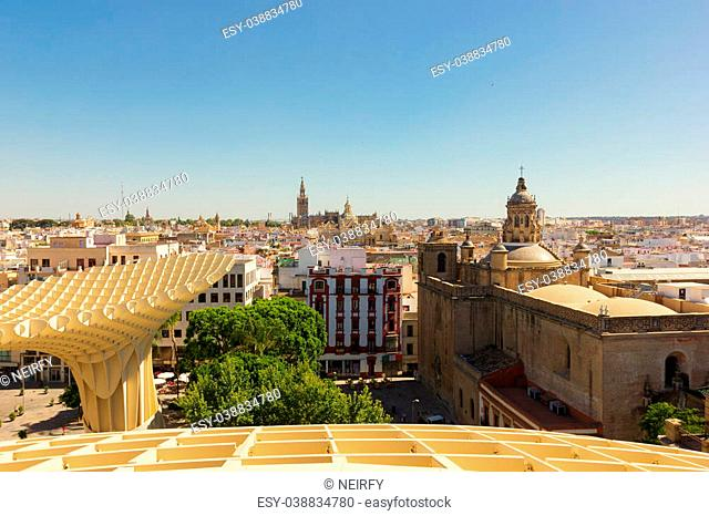 skyline of Seville from the roof of Metropolitan Parasol, Spain