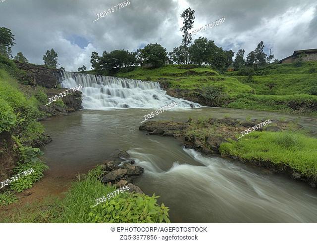 Waterfall close to Kalsubai Peak in Bhandadara Town, Bhandardara, Maharashtra, India
