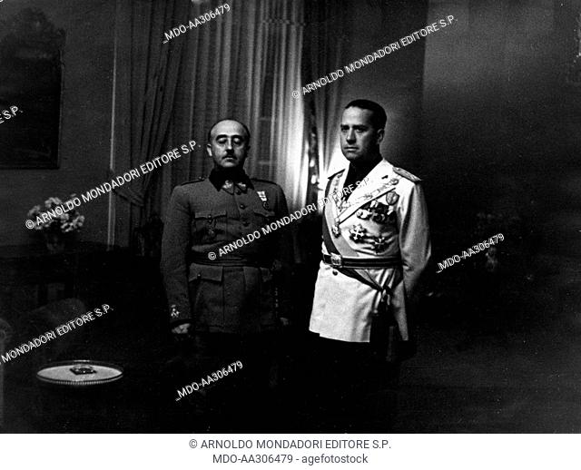 Francisco Franco with Galeazzo Ciano. Head of State and President of Spanish Government Francisco Franco and Minister of Foreign Affairs of the Kingdom of Italy...