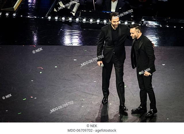 Nek, Neri Marcoré at the fourth evening of the 69th Sanremo Music Festival. Sanremo (Italy), February 8th, 2019