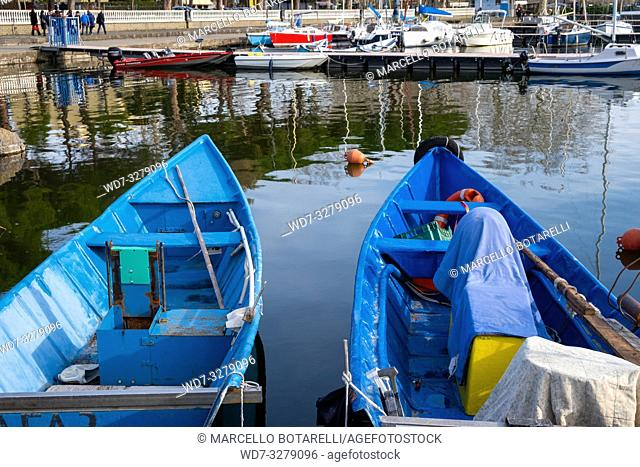 Traditional boats in Bolsena port, Bolsena lake, Lazio, Italy