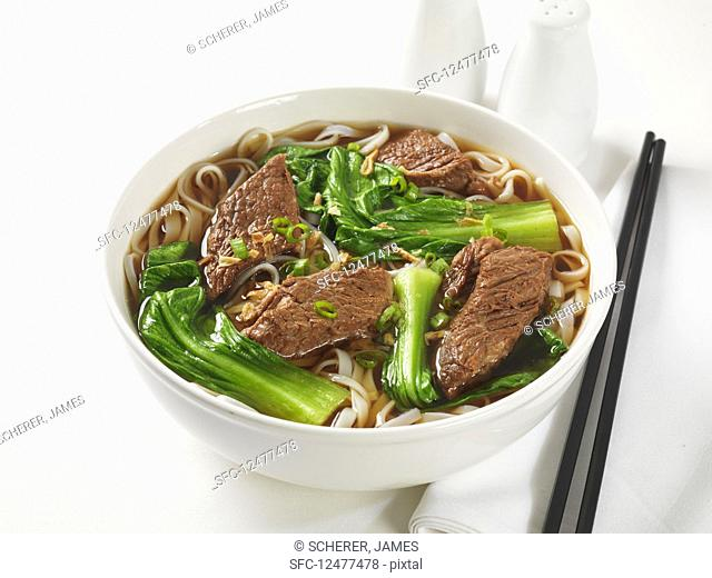 Noodle Soup with Beef and pak choy (Asia)