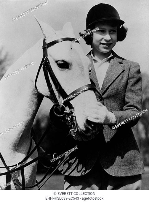 Princess Elizabeth with a white pony on her thirteenth birthday in 1939. - (BSLOC-2015-1-45)