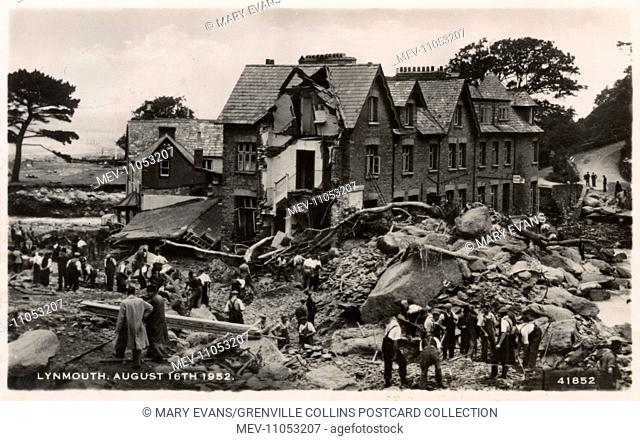 Lynmouth, Devon - August, 1952 - nine inches of rain in 12 hoursd led to devastation caused by 90 million tonnes of flood water and 200 thousand tonnes of...