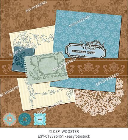 Scrapbook Design Elements - Vintage Flowers and Frames in vector