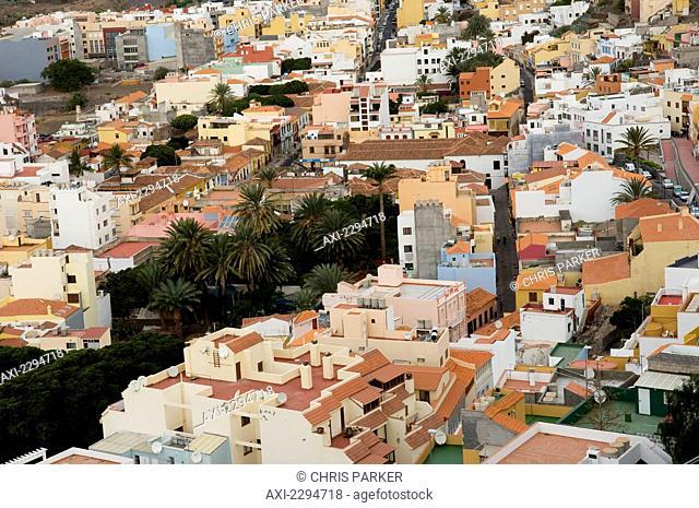 Elevated view of town; San Sebastian, La Gomera, Canary Islands, Spain