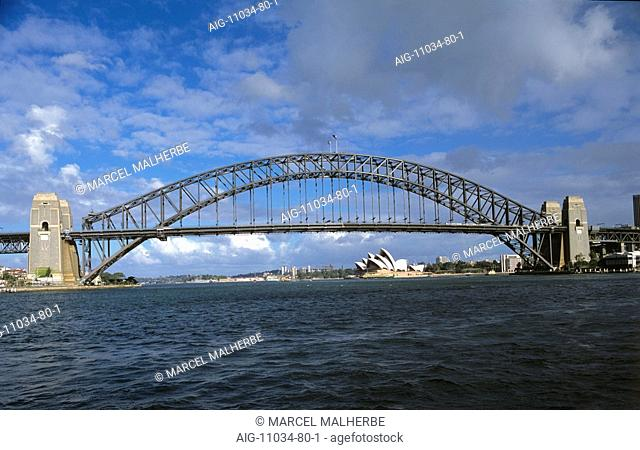 Harbour Bridge with Opera House in background, Sydney