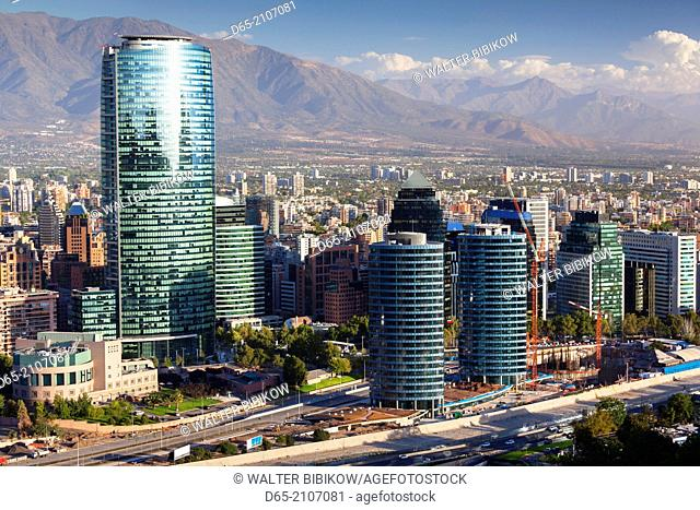 Chile, Santiago, elevated view of Providencia buildings from the Cerro San Cristobal hill