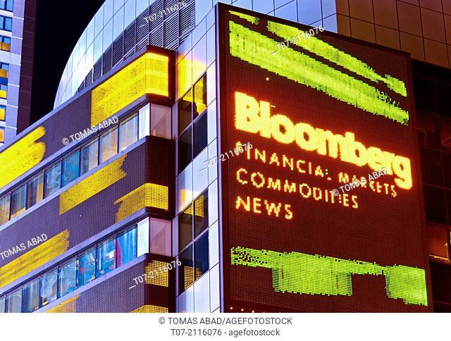 Time Square, Broadway, Morgan Stanley headquarters building, stock market data ticker tape, Manhattan, New York City, USA