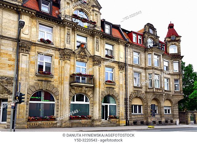 Traditional architecture - townhouse at Wilhelminenstrasse, Bayreuth - capital of Upper Franconia, Bavaria, Bayern, Germany, Europe