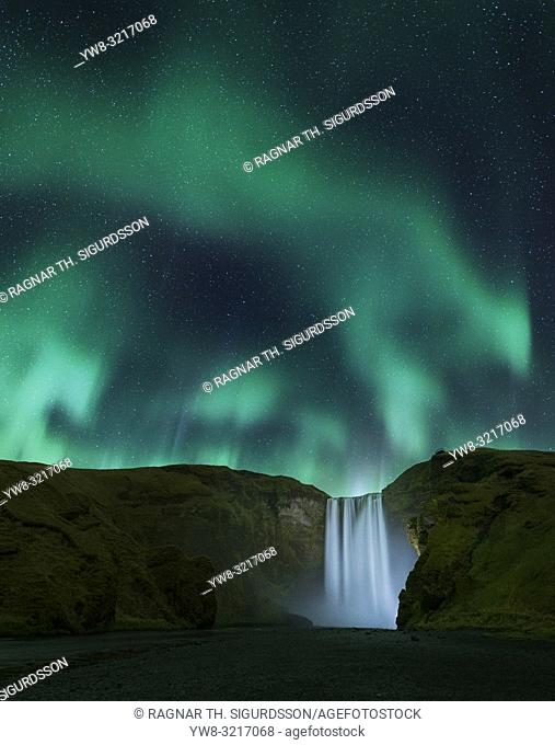 Skogafoss Waterfall with Aurora Borealis, Iceland
