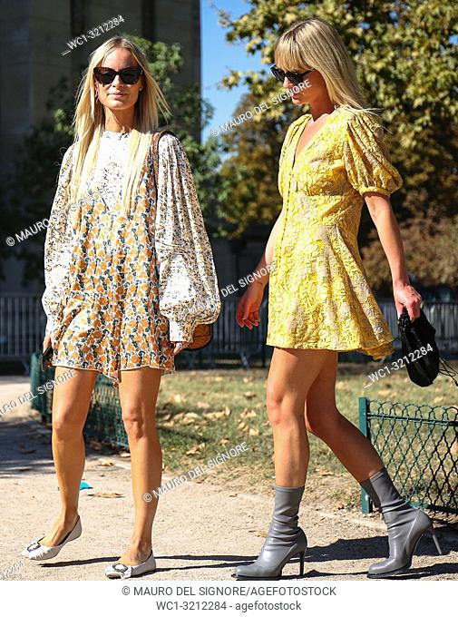 PARIS, France- September 27 2018: Thora Valdimars and Jeannette Madsen on the street during the Paris Fashion Week