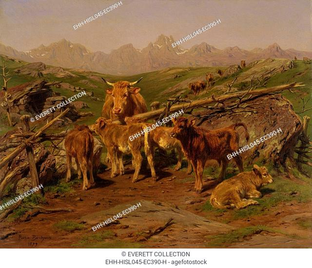 WEANING OF THE CALVES, by Rosa Bonheur, 1879, French painting, oil on canvas. Set in the Pyrenees Mountains, the scene shows the six to eight month old calves...