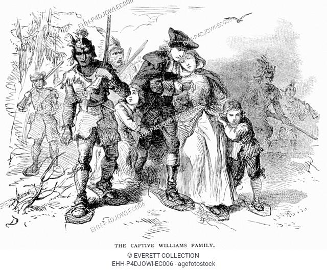 Reverand John Williams and his family captured by Indians in Deerfield, Massachusetts, 1704, engraving 1877