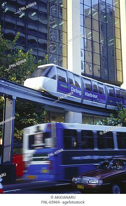 downtown, monorail, pillar, glass